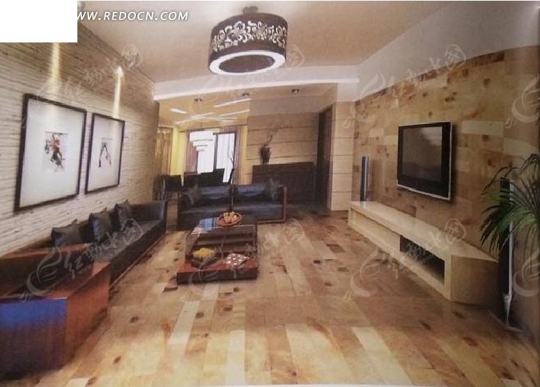 创意木质风格客厅设计效果图