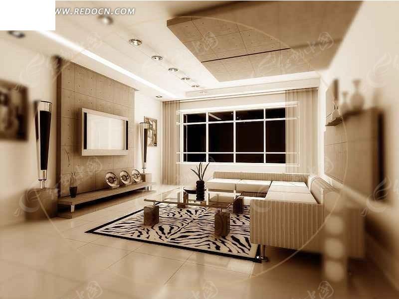 素净现代客厅3d设计效果图图片高清图片