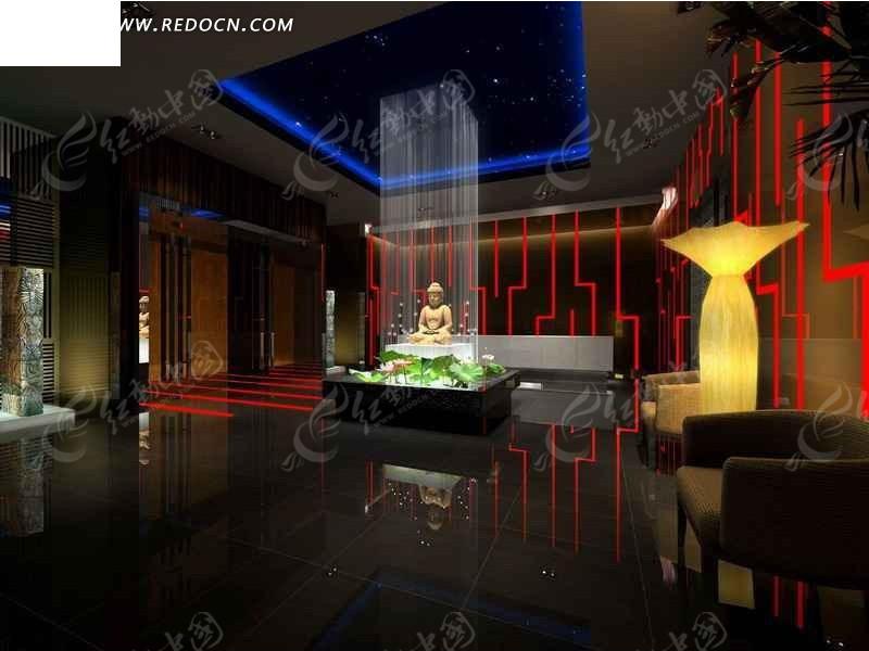 中式展厅3d设计效果图图片高清图片