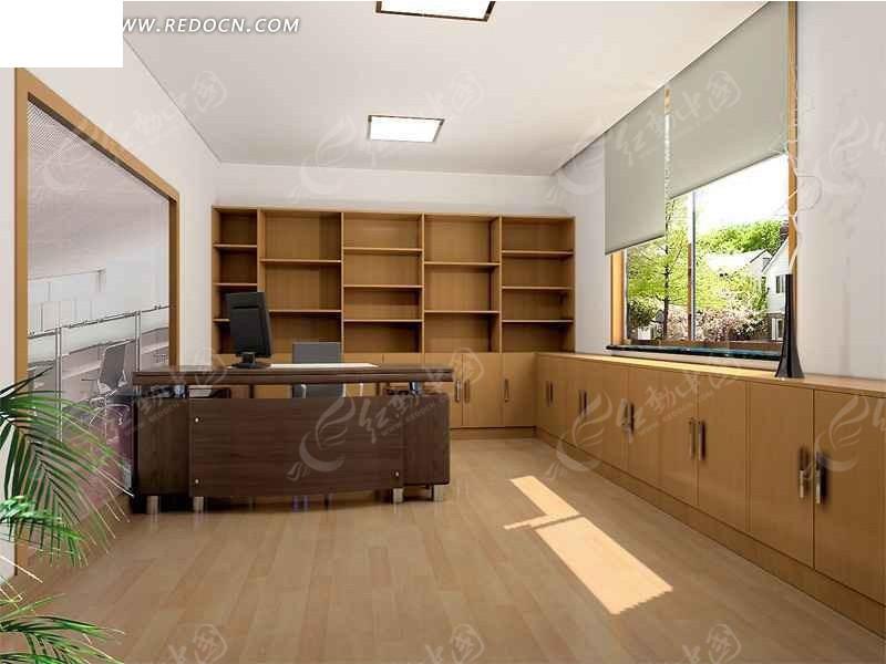 简单办公室设计3d效果图图片高清图片