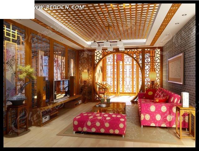 中式书香气息客厅3d模型图图片