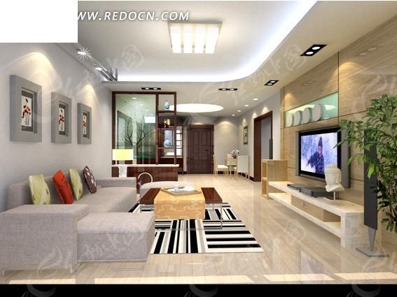现代代客厅3d效果图
