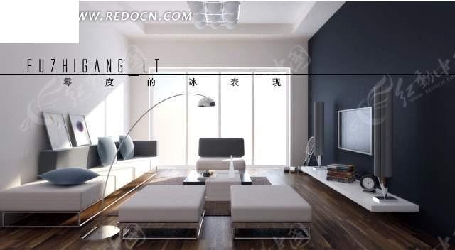 现代极简 落地窗 客厅3dmax 模型 编号 1333821 高清图片