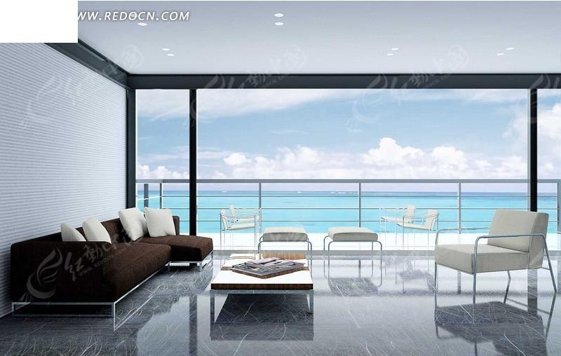 现代海景房3d效果图