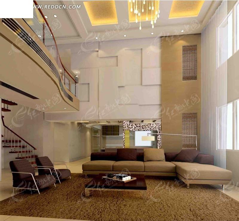 复式小二楼客厅3d效果图图片高清图片