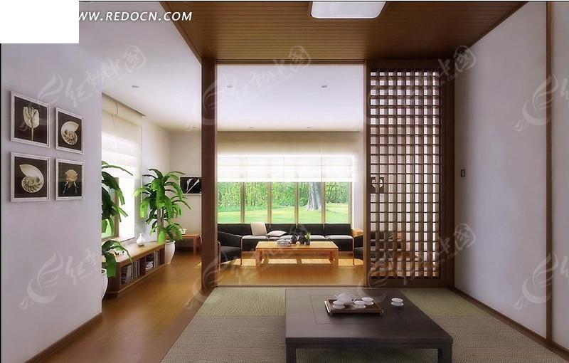 现代中式客厅3d效果图_室内设计