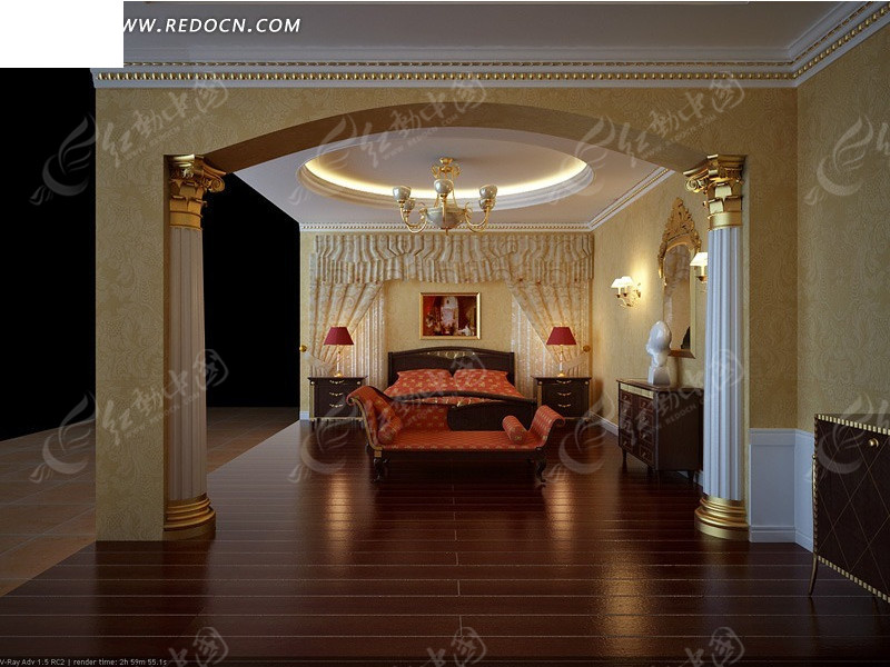 欧式金色卧室3d效果图