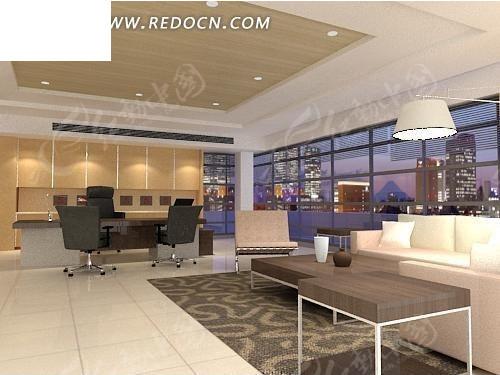 大型ceo办公室3d效果图图片