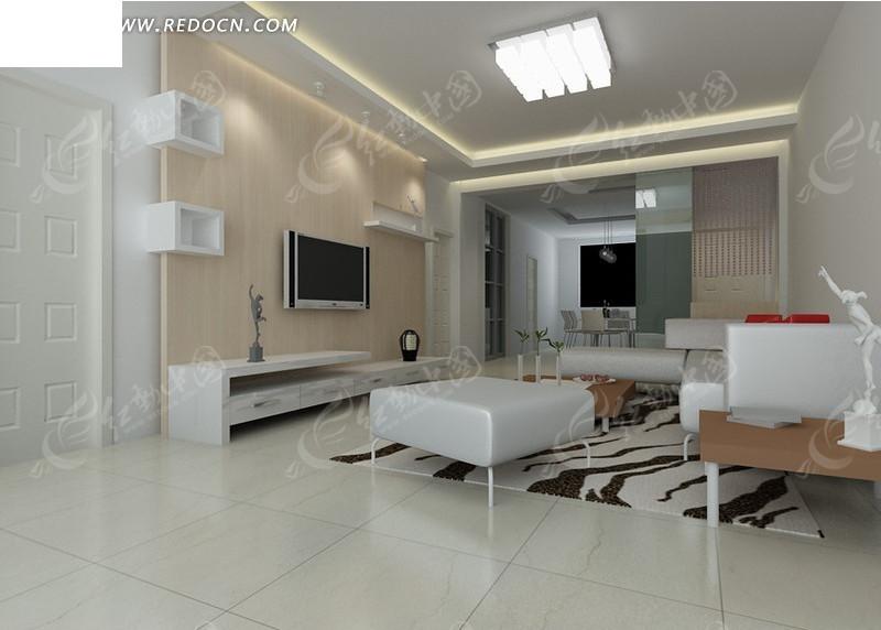 免费素材 3d素材 3d模型 室内设计 简约风格客厅装饰效果图3d模型素材