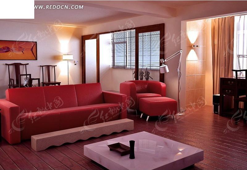 红色调客厅室内装修设计3d效果图3dmax素材免费下载