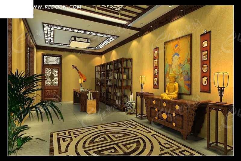 中式佛教客厅设计效果图图片