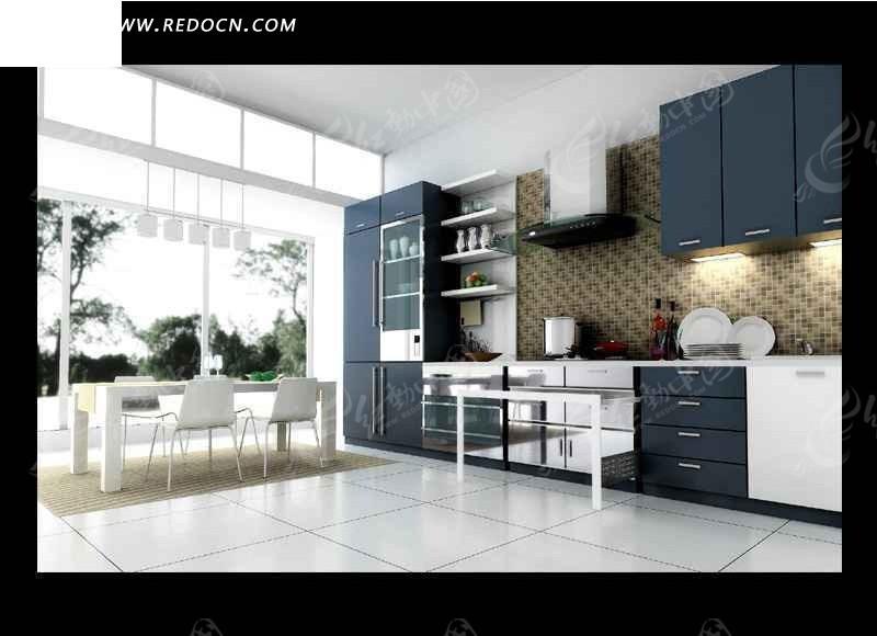 现代简约厨房餐厅室内设计3dmax效果图-3d模型下载图片