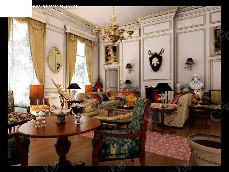 欧洲古典欧式家居室内设计3dmax效果图图片