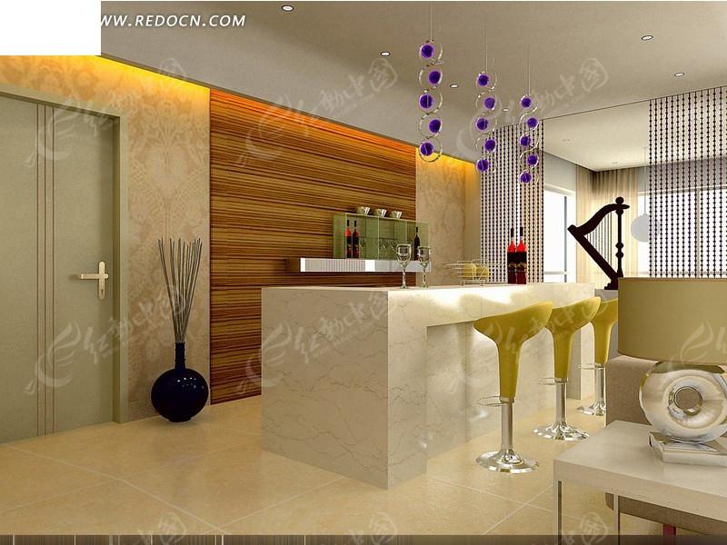 家庭式吧台设计3d效果图图片