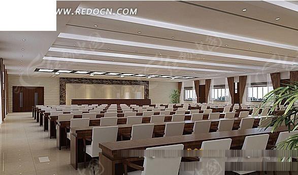 现代大型会议室3d效果图图片
