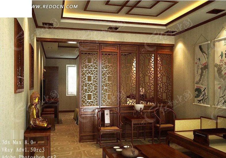 中式风格客厅3d效果图3dmax免费下载_室内设计素材图片