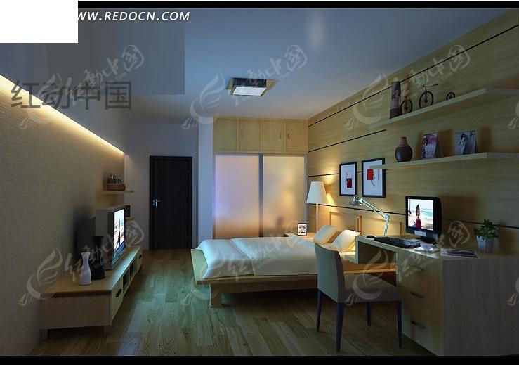 木纹结构卧室3d效果图