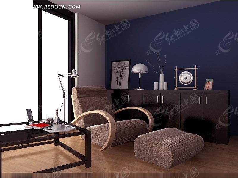 免费素材 3d素材 3d模型 室内设计 简约兰色调小客厅3d效果图  请您图片