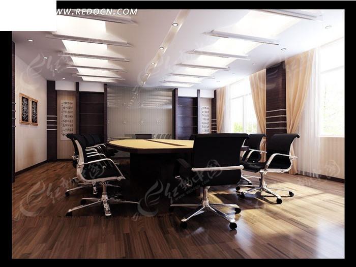 简约中式小会议室3dmax模型图片