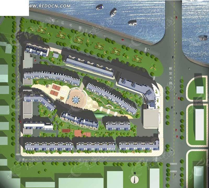 马路 房屋 草坪 广场 绿化 彩色平面图 建筑规划 建筑设计 psd素材