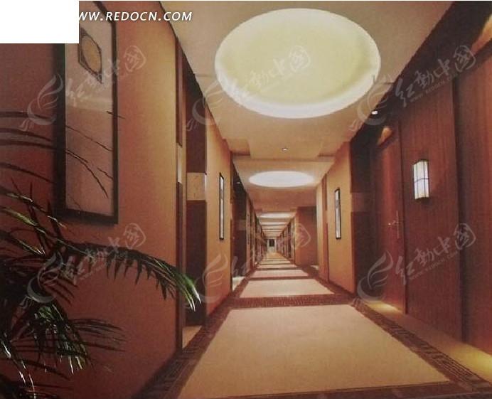 酒店走廊设计3d效果图图片高清图片