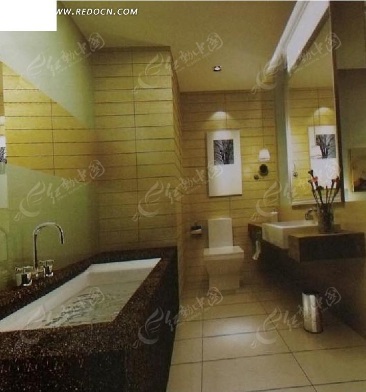 卫生间整体设计3d效果图图片高清图片