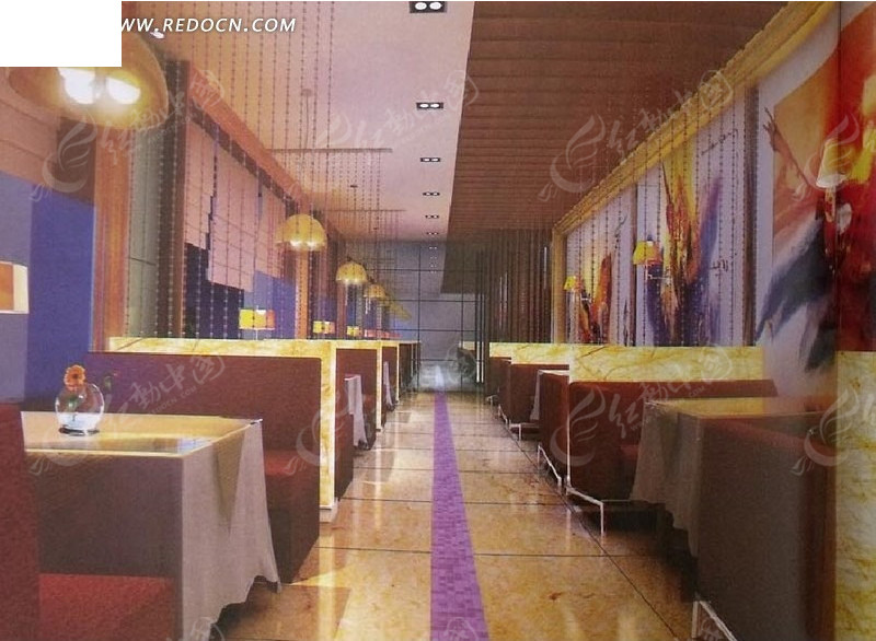 餐厅卡座区域3dmax模型图片