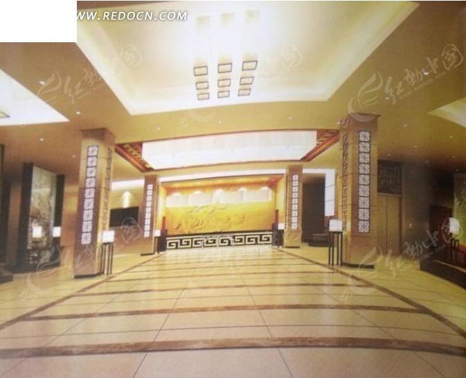 酒店大堂3d效果图_室内设计图片