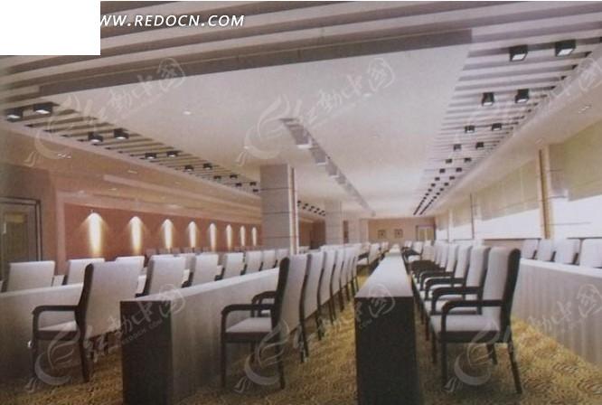 高雅大型会议室3D模板效果图图片