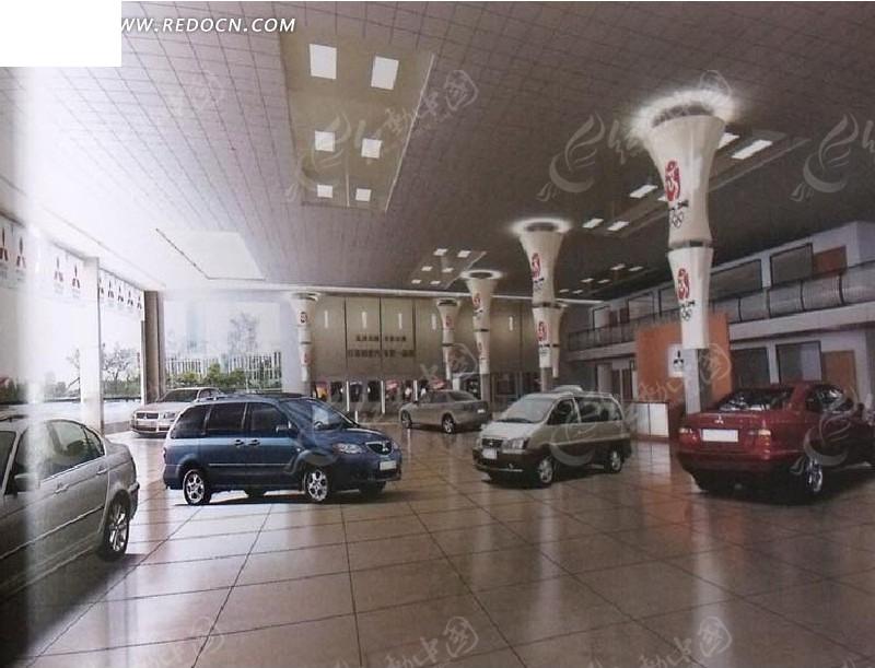 汽车销售4S店3D效果图3dmax免费下载 室内设计素材 -汽车销售4S店3高清图片