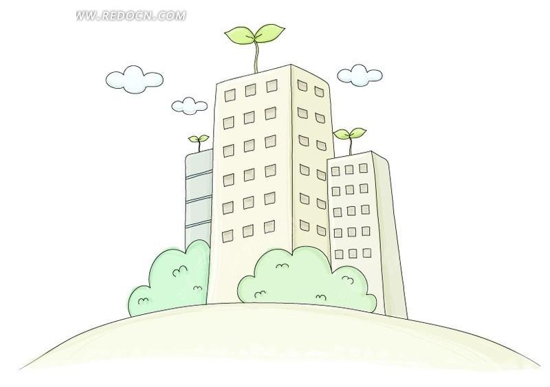 卡通插画环保高楼