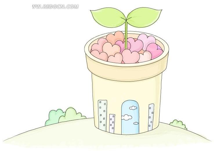 卡通花盆图片; 卡通花盆图片_小女孩花盆图片卡通_塑料瓶自制花盆图