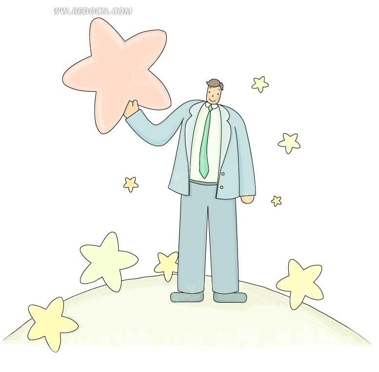 手举五角星的卡通西装男子