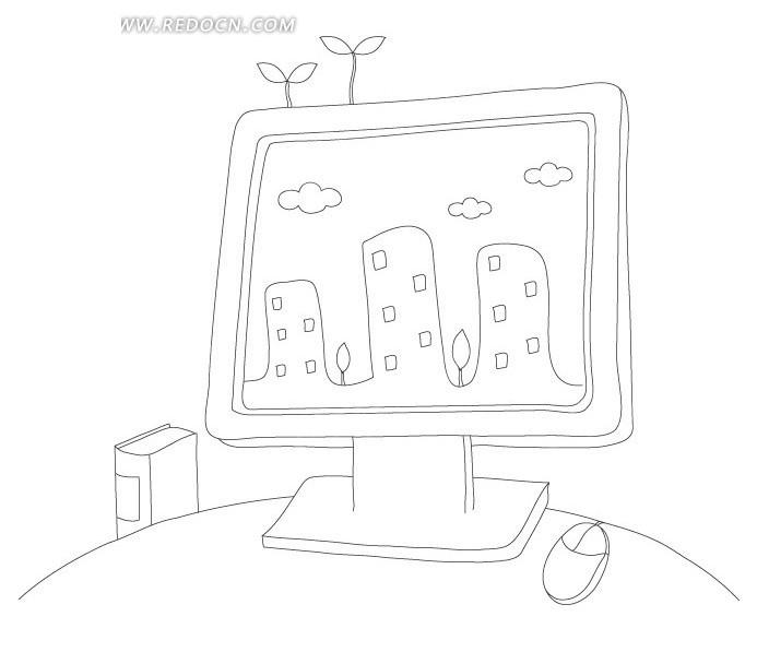 黑白线描电脑屏幕里的树木楼房云朵psd素材免费下载