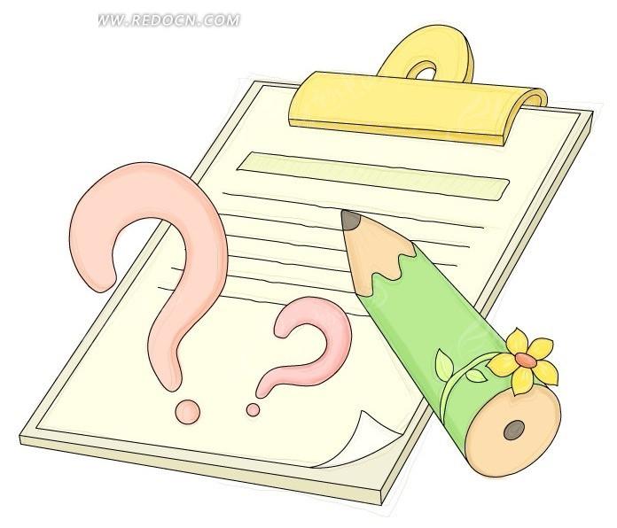 简笔画小孩写字卡通; 写字板夹上的小花铅笔和问号