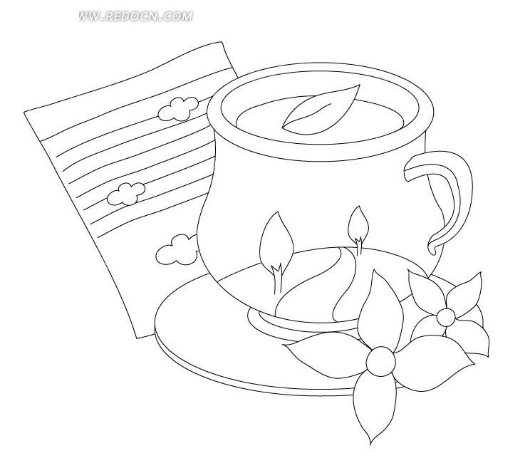 杯子黑白设计画