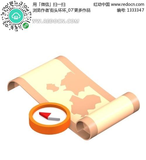 手绘指南针和地图图片高清图片