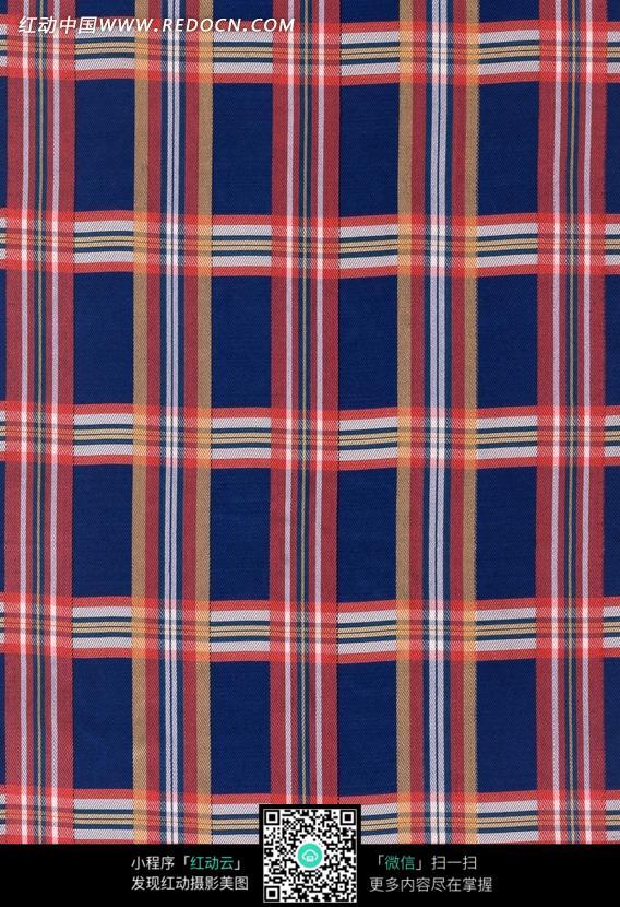 蓝色和红色格子布纹图片