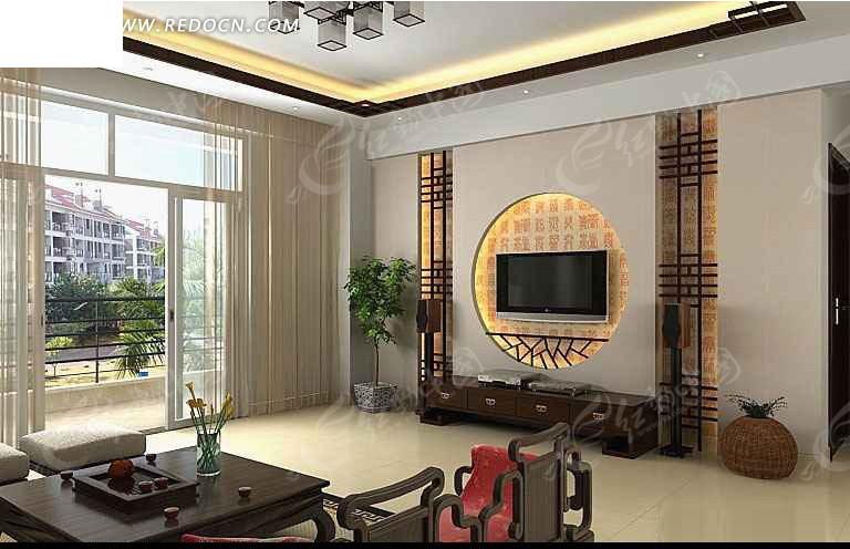 中式风格电视背景墙3dmax模型 3d模型下载 3d模型素材库高清图片