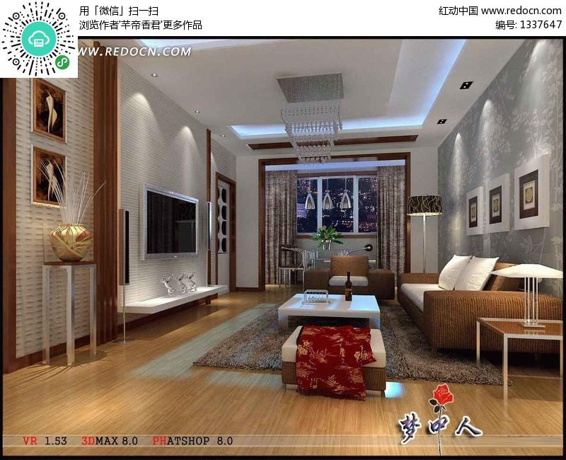 时尚现代客厅装饰效果图3D模型素材图片
