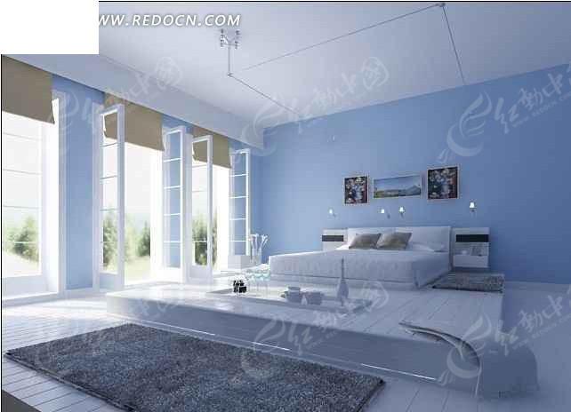 浅蓝色清新淡雅的卧室空间设计_室内设计
