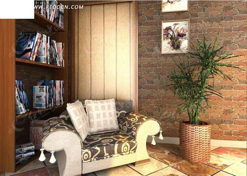 书房一角设计3d效果图_室内设计