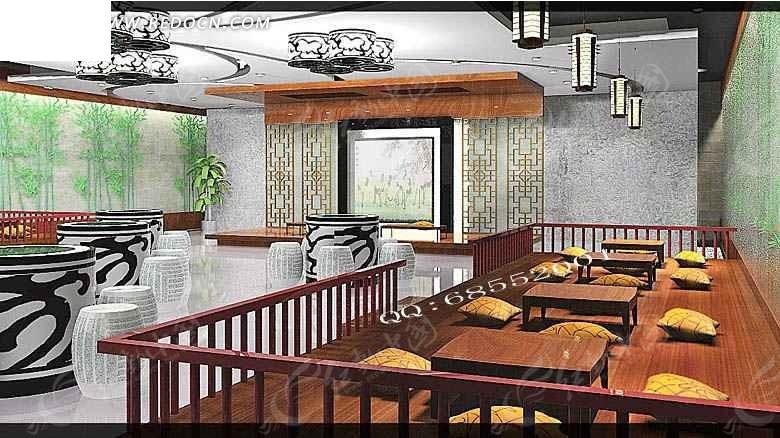 休闲茶艺室3d效果图