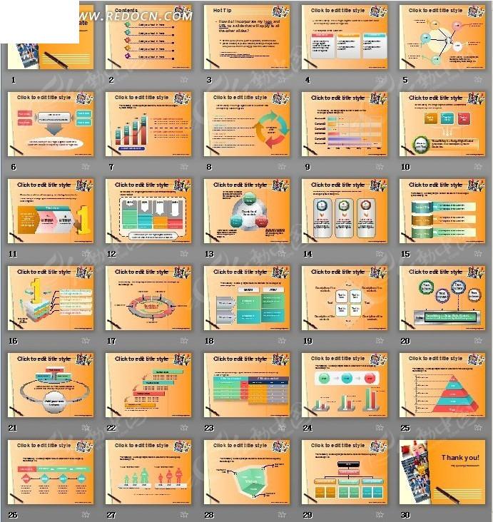 国外橙色背景数据图表分析ppt模板