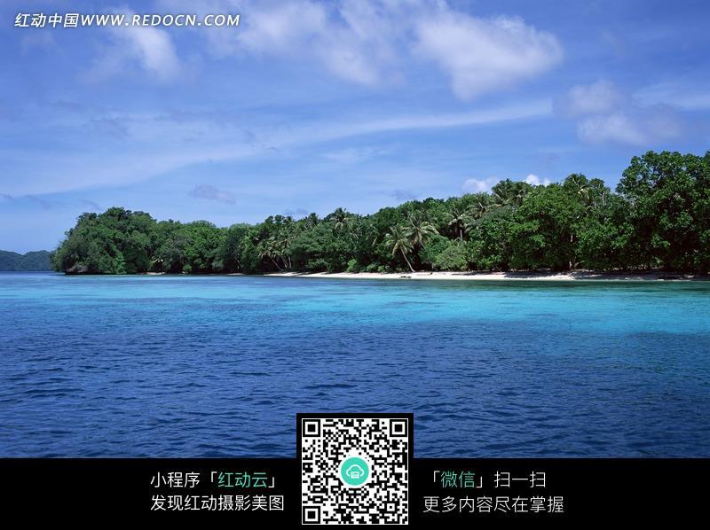 > 图片素材 > 自然风光 > 海洋海边 > 蓝天白云下大海中长满树木的