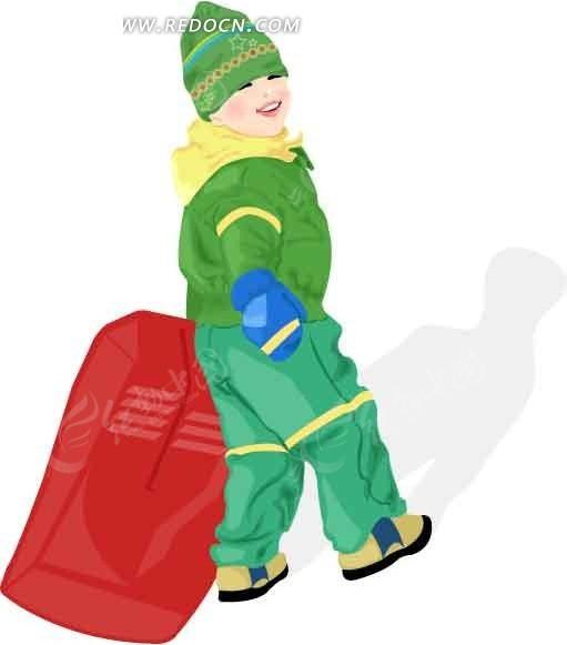 拖着滑雪橇的小孩矢量图_卡通形象
