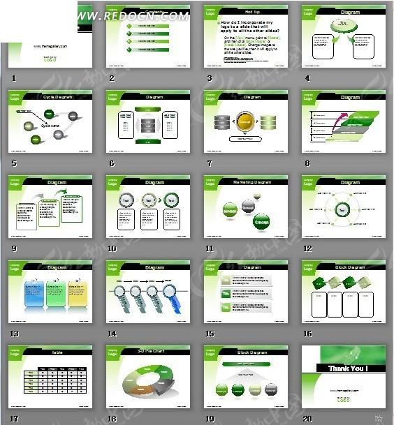 淡雅绿色风格ppt模板图片