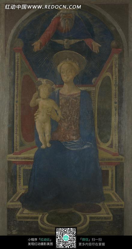 抱着耶稣的圣母玛利亚油画图片