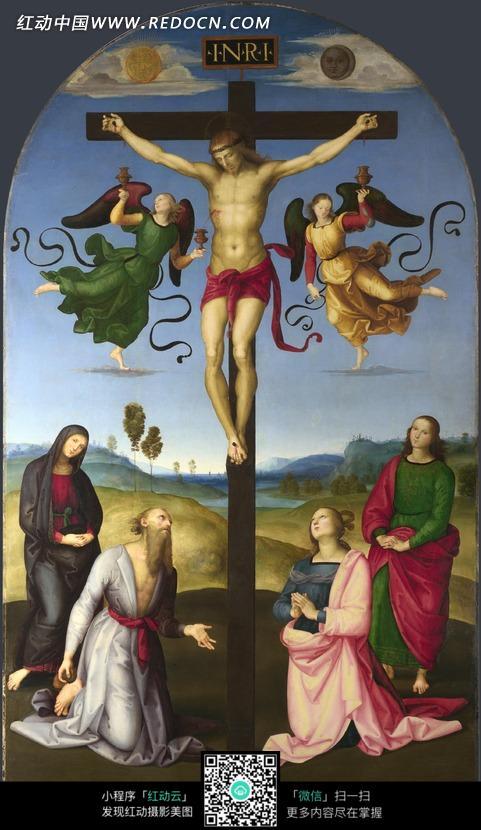 订在十字架上的耶稣油画