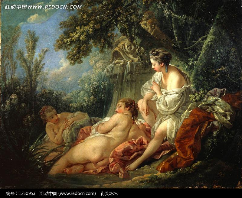 树林里躺着的三个裸体女人油画图片